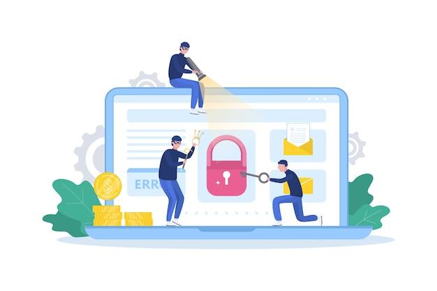 해커 개념. 도둑이 컴퓨터를 공격하고 개인 데이터를 훔칩니다.