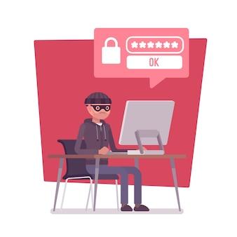 Hacker cracking computer password