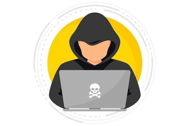 사용자 개인 데이터를 훔치는 노트북을 사용하는 해커 사이버 범죄자 해커 공격 및 웹 보안