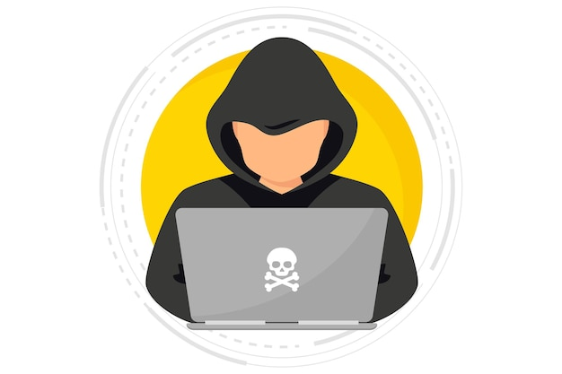 Hacker cyber criminal with laptop stealing user personal data hacker attack and web security