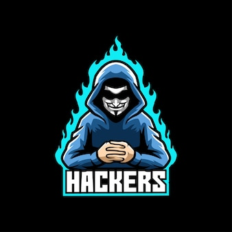 Шаблон логотипа талисмана хакера киберспорта