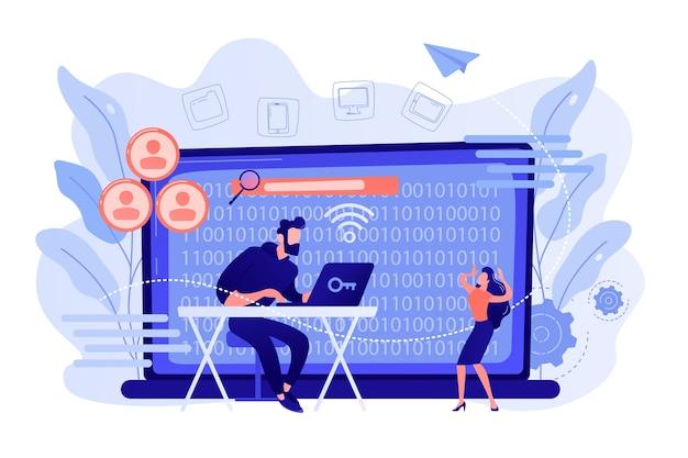 Хакер собирает конфиденциальные данные отдельных лиц и публикует их. доксинг, сбор информации в сети, концепция результата взлома эксплойта. розовый коралловый синий вектор изолированных иллюстрация