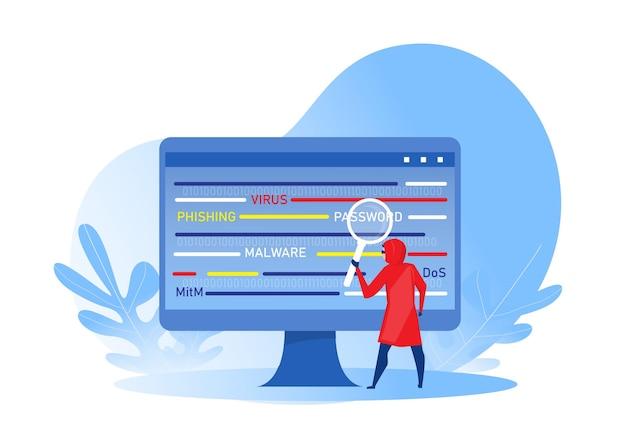 해커가 데스크톱 컴퓨터에 대한 공격을 위해 돋보기를 들고 있습니다. 데이터, 피싱 및 해킹 범죄에 대한 해커 공격