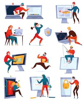 Icona di hacker impostato con diversi tipi di hacker che rubano informazioni rompendo il sistema informatico