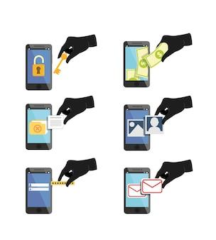 ハッカーのアイコンがデータとパスワードを盗もうとする