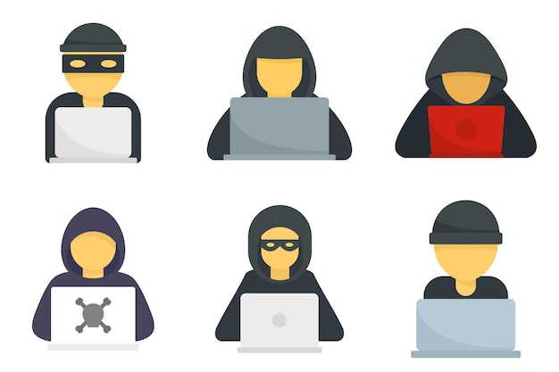 Набор иконок хакера. плоский набор хакерских векторных иконок, изолированные на белом фоне