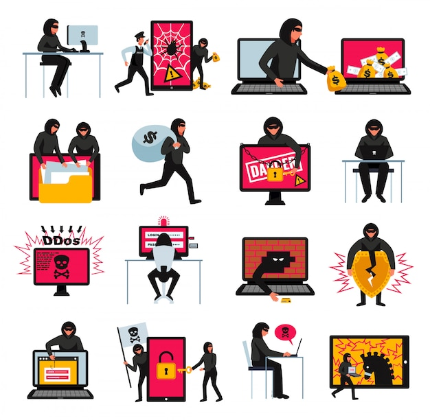 Hacker icons set with online threats and attacks symbols flat isolated  illustration