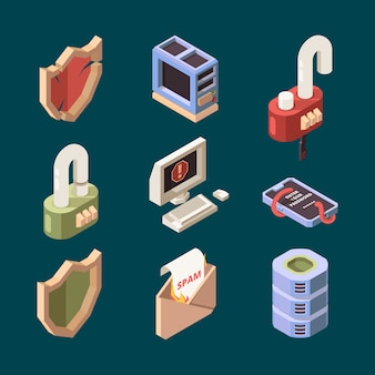 Hacker isometric. cyber security email spam computer viruses online ddos attack bugs protection information lan theif vector pictures. computer security, technology attack spam icons illustration