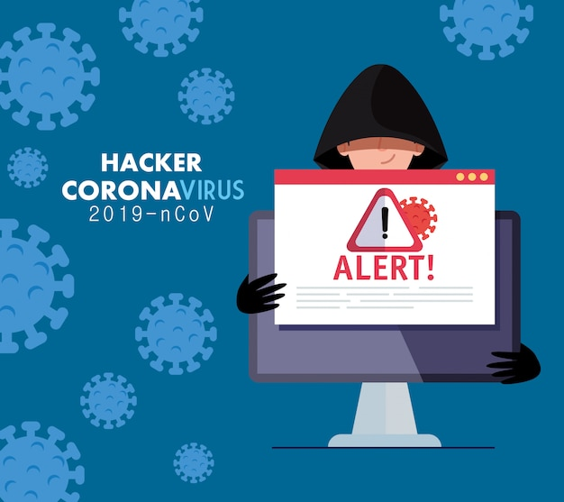 Hacker and laptop with danger warning sign during covid-19 pandemic vector illustration design