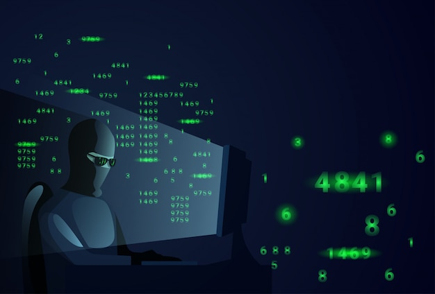 Hacker man behind desktop computer night attack and data security concept