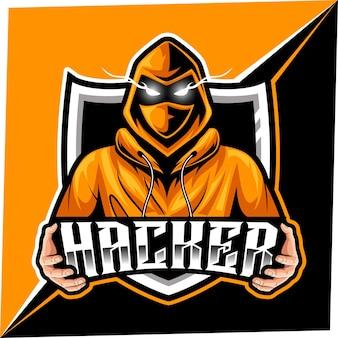 스포츠 및 E 스포츠 로고를위한 해커 마스코트 프리미엄 벡터