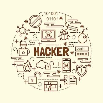 Hacker minimal thin line icons set
