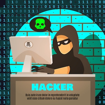 Hacker near computer illustration