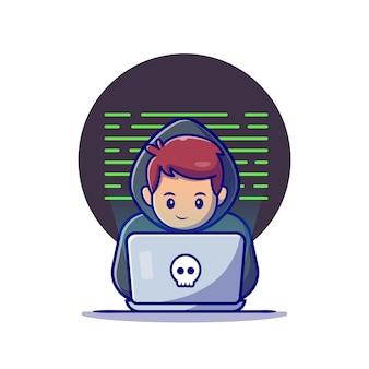 Hacker che opera un'illustrazione dell'icona del fumetto del computer portatile. concetto dell'icona di tecnologia isolato. stile cartone animato piatto