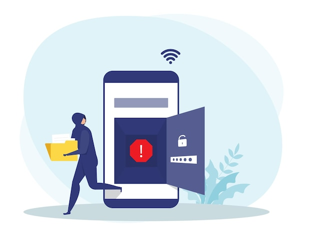 Хакер или преступный вор в черном крадут данные или личную личность на мобильной концепции