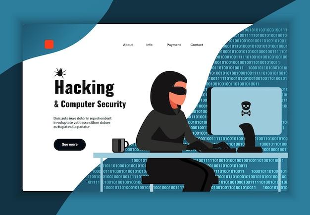Progettazione della pagina dell'hacker con l'illustrazione piana di vettore dei simboli di sicurezza del computer