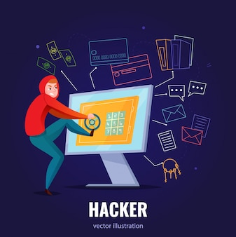 Hacker safe composition with man in hoodie hacks computer and climbs inside  illustration