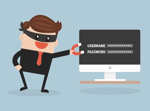 민감한 데이터를 비밀번호로 훔치는 해커