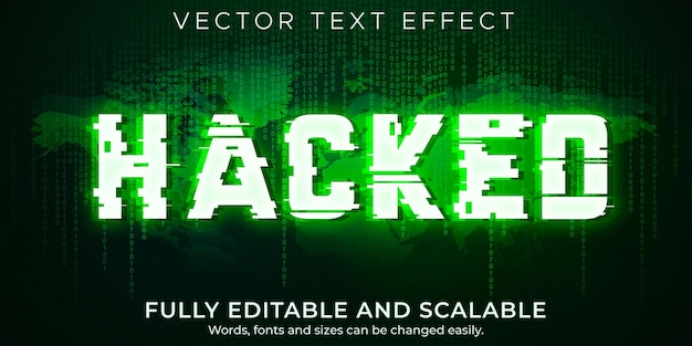 Hacker text effect; editable virus and attack text style