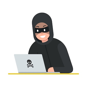 Hacker thief with laptop. cyber attack