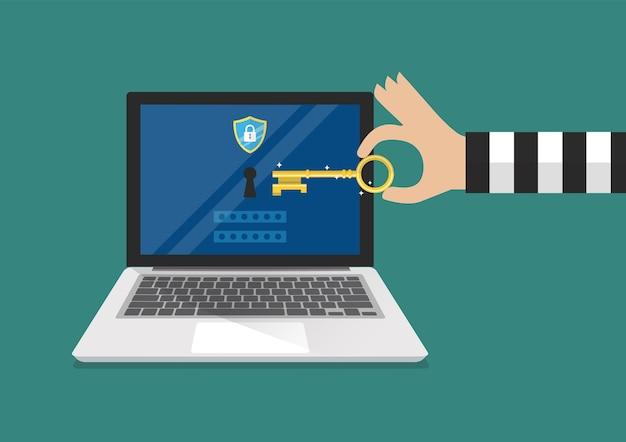 해커가 노트북의 잠금을 해제하려고합니다. 랜섬웨어 맬웨어 바이러스 컴퓨터.