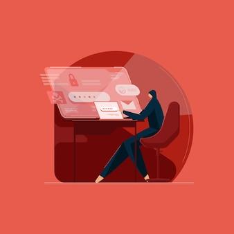 Хакер использует ноутбук для взлома системы с помощью двоичного кода. киберпреступность и взлом базы данных. кибератака, похищающая конфиденциальные данные и личную информацию.