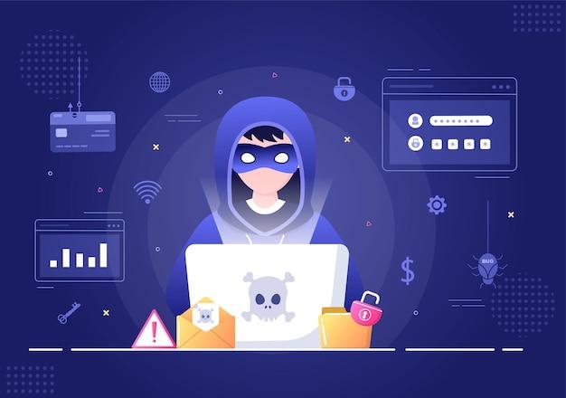 Хакер с помощью компьютерного сервера для деятельности взломанной базы данных фон векторные иллюстрации
