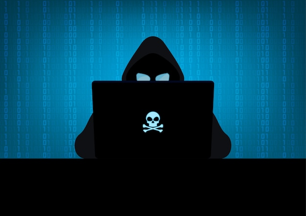 Hacker using laptop silhouette with skull and crossbones logo on blue binary code background