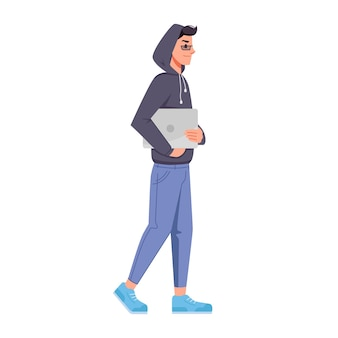 Hacker with computer in hood hoodie jacket isolated flat cartoon character vector programmer or