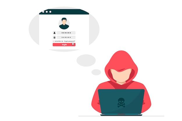 Хакер с ноутбуком крадет логин пользователя. хакер сидит за рабочим столом и взламывает личные данные пользователя.