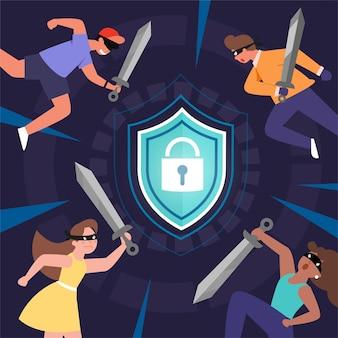 グローバルデータまたは個人データのセキュリティ、サイバーデータセキュリティのオンラインコンセプト、インターネットセキュリティまたは情報のプライバシーと保護のアイデアを攻撃するハッカー、分離されたフラットアイソメトリックイラスト