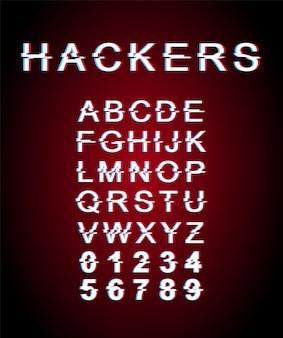 해커 결함 글꼴 템플릿. 레트로 미래 스타일 알파벳 빨간색 배경에 설정입니다. 대문자, 숫자 및 기호. 왜곡 효과가있는 사이버 범죄 서체 디자인