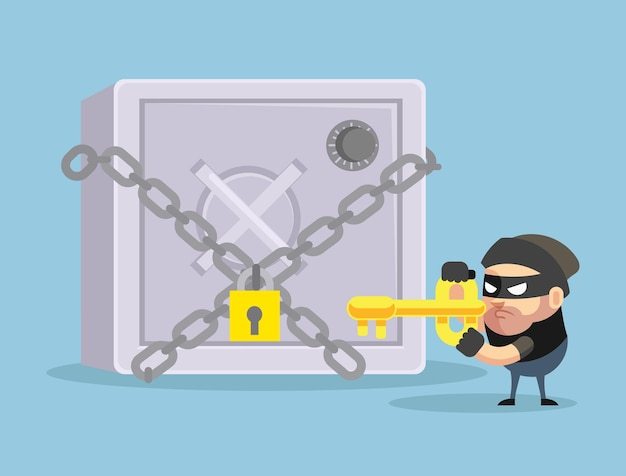해킹 은행 안전 평면 만화 illustratio