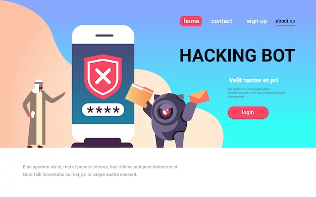 Hacking bot landing page concept with arabic person