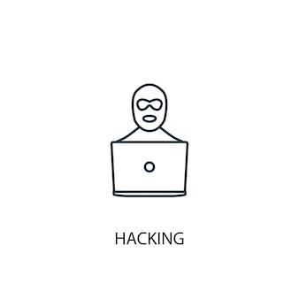 해킹 개념 라인 아이콘입니다. 간단한 요소 그림입니다. 해킹 개념 개요 기호 디자인입니다. 웹 및 모바일 ui/ux에 사용할 수 있습니다.