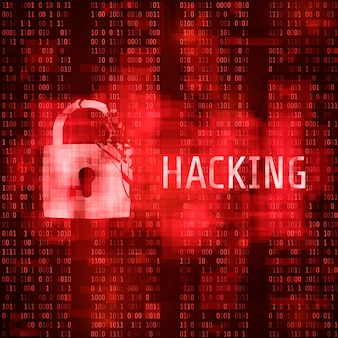 Hacking. hacker cyber attack. hacked program on matrix code background