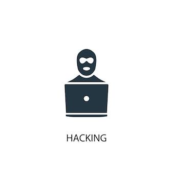 Значок взлома. простая иллюстрация элемента. взломать концепцию дизайна символа. может использоваться в интернете и на мобильных устройствах.