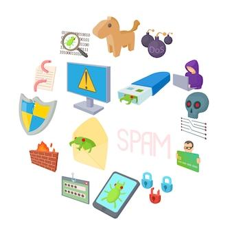Hacking icons set, cartoon style