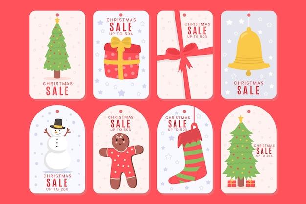 Нарисовал коллекцию тегов рождественской распродажи