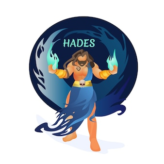 Hades greek god of dead holding hellfire in hands