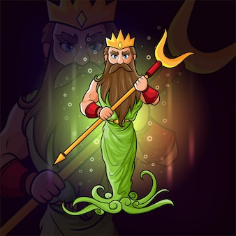 The hades with the golden crown esport logo design inspiration of illustration
