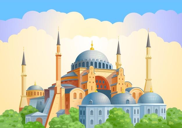 トルコのイスタンブールランドマークの旧市街にあるアヤソフィアのドームとミナレット