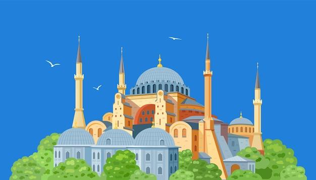 青い背景にイスタンブールの旧市街にあるアヤソフィアのドームとミナレット