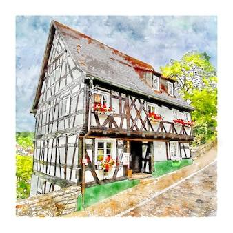 Haigerloch 독일 수채화 스케치 손으로 그린 그림