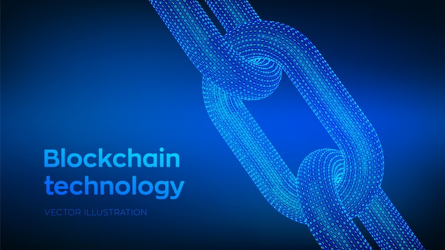 Сhain with binary code, blockchain concept,