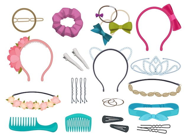 Hair accessories. woman hair items stylist salon flowers elastic bands bows hoops cartoon illustrations