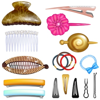 Hair accessory hairpin or hair-slide and hair-clip ponytailer for girlish hairstyle illustration beauty fashion set of hairgrip or hairdressing accessories isolated on white background