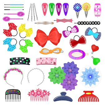 Hair accessory vector kids hairpin or hair-slide and hair-clip ponytailer for girlish hairstylend