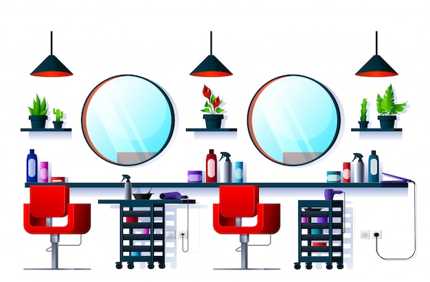 Hair or beauty salon, barber shop or spa interior