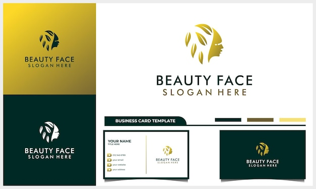Hair beauty with nature leaf concept logo for salon, makeover, hair stylist, hairless, hair cut